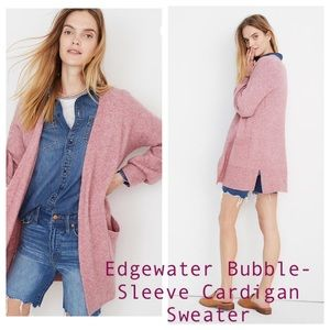 Madewell Edgewater Bubble-Sleeve Cardigan Sweater
